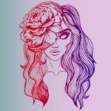 Heldere creatieve schetskunst - portret van een meisje met een bloem in haar haar - gotische stijl, strippaginaart. Kleurengradië Stock Afbeelding
