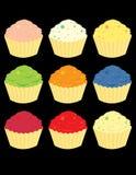 Heldere cupcakevariaties Royalty-vrije Stock Foto's
