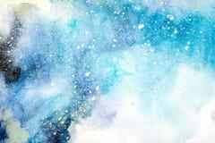 Heldere de druppelsvlekken van de waterverf blauwe roze purpere rode vlek Abstracte Illustratie stock foto