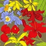Heldere decoratieve achtergrond met heel wat bloemen stock illustratie
