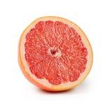 Heldere die grapefruit op witte achtergrond wordt geïsoleerd stock afbeeldingen