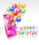 Heldere doos met lucht balloones en gelukkige verjaardag Stock Foto's