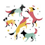 Heldere, eenvoudige druk van 5 honden Stock Fotografie