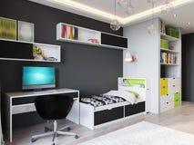 Heldere en comfortabele kinderen` s ruimte in modern stedelijk eigentijds varkenskot vector illustratie