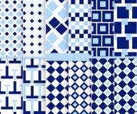 Heldere en eenvoudige lichte en donkerblauwe patroonreeks Stock Foto's