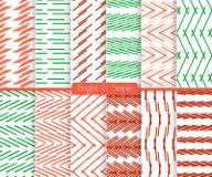 Heldere en eenvoudige rode rode en groene patroonreeks Royalty-vrije Stock Afbeeldingen