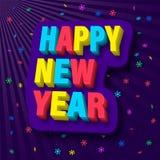Heldere en kleurrijke gelukwensen op het gelukkige nieuwe jaar Vector illustratie stock illustratie