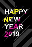 Heldere en moderne affiche voor het nieuwe jaar 2019 stock afbeelding