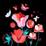 Heldere feestelijke bloemenkaart royalty-vrije illustratie