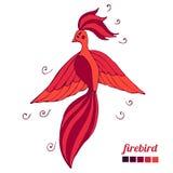 Heldere firebirdvlieg Brandvogel tijdens de vlucht stock illustratie