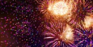 Heldere fonkelende veelkleurige vuurwerk en confettien Royalty-vrije Stock Afbeeldingen