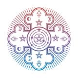 Heldere geheimzinnigheid, geheim esoterisch die symbool op witte achtergrond wordt geïsoleerd royalty-vrije illustratie