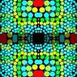 Heldere gekleurde cirkels op een donkere geometrische achtergrond als achtergrond vector illustratie