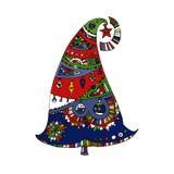 Heldere gekleurde decoratieve hand getrokken Kerstmisboom Royalty-vrije Illustratie