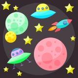 Heldere gekleurde vector ruimtedekking met kleurrijke planeten, sterren, Stock Fotografie