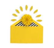 Heldere gele bloem in een gele envelop Ondiepe diepte van gebied Bloemblaadjes rond de gele bloem Vlak leg Royalty-vrije Stock Fotografie