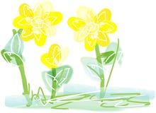 Heldere gele bloemen artistieke achtergrond Stock Afbeeldingen