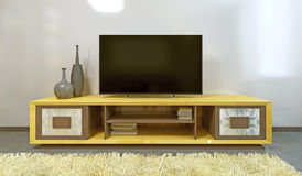 Heldere gele TV-eenheid in moderne woonkamer stock illustratie