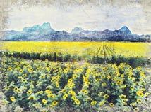 Heldere gele zonnebloem, Thailand Digitaal Art Impasto Oil Paint stock foto