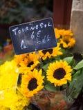 Heldere gele Zonnebloemen die worden verkocht Stock Foto's