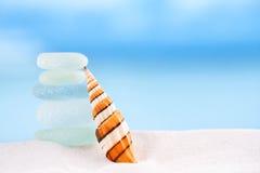 Heldere gestripte overzeese shell met overzeese glasoceaan, strand en seasc Stock Fotografie