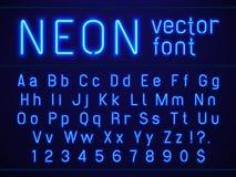 Heldere gloeiende blauwe de letters en de getallen van het neonalfabet doopvont Nachtlevenvermaak, moderne bars, verlicht casino royalty-vrije illustratie