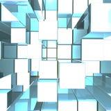 Heldere Gloeiende Blauwe Metaalachtergrond met Artistieke Kubussen Royalty-vrije Stock Foto