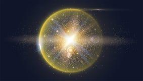Heldere gloeiende die bal met deeltjes en stof wordt gevuld vector illustratie