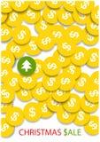 Heldere gouden muntstukken en één green Stock Afbeelding