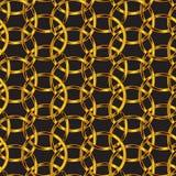 Heldere gouden verbonden cirkels in een tegel van het luxepatroon over zwarte achtergrond royalty-vrije illustratie