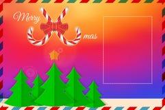 Heldere Gradiënt, Sparren Vector de kaartmalplaatje van de Kerstmisgroet Vrolijke Kerstmis en de Gelukkige Elementen van het Nieu vector illustratie