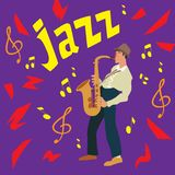 Heldere groetkaart Affiche van muziekjazz De mens speelt een saxofoon Vector illustratie stock illustratie