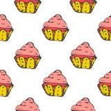 Heldere hand getrokken naadloze patronen met cupcakes Royalty-vrije Stock Afbeeldingen
