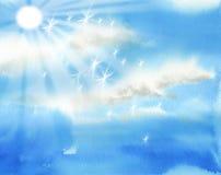 Heldere hemel met zon en wolkenillustratie Stock Afbeeldingen