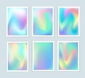 Heldere holografische die achtergronden voor een verschillend ontwerp worden geplaatst Stock Foto
