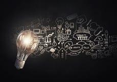 Heldere ideeën op muur Stock Afbeelding