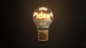 Heldere Idee 3D Gloeiende Gloeilamp Stock Fotografie