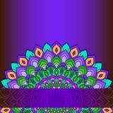 Heldere illustratie met hand-trekkende sier abstracte kantronde met vele geïsoleerde details op donkere purpere achtergrond vector illustratie