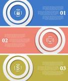 Heldere infographic vectortechnologie-banners Stock Foto