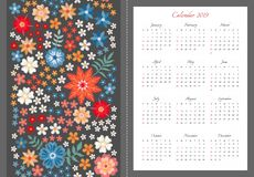 Heldere kalender voor het jaar van 2019 Het begin van de week op Zondag Vectormalplaatje met borduurwerkpatroon van kleurrijke de vector illustratie