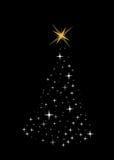 Heldere Kerstmisboom die van sterren wordt gemaakt Royalty-vrije Stock Foto