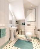Heldere klassieke traditionele wasserijruimte en badkamers Stock Foto