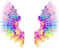 Heldere kleuren bloemenachtergrond met vleugels vector illustratie