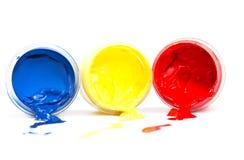 Heldere kleuren op een witte achtergrond. Stock Foto