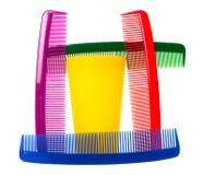 Heldere, kleurenhaarborstels Stock Foto