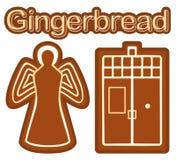 Heldere kleurrijke affiche met het koekjesengel van het gemberbrood en telefoonvakje Stock Afbeelding
