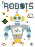 Heldere kleurrijke affiche met uitstekende die robot en technologie op witte achtergrond wordt geïsoleerd Stock Fotografie