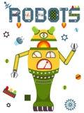 Heldere kleurrijke affiche met uitstekende robot en technologie Royalty-vrije Stock Fotografie