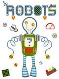 Heldere kleurrijke affiche met uitstekende robot en technologie op witte achtergrond Royalty-vrije Stock Foto's