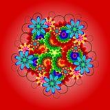 Heldere, kleurrijke decoratie van bloemen met krullen Stock Fotografie